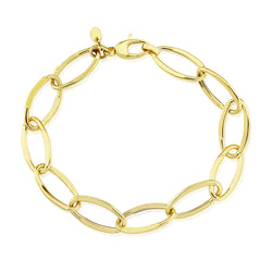 Faceted hollow oval link bracelet in 9ct gold