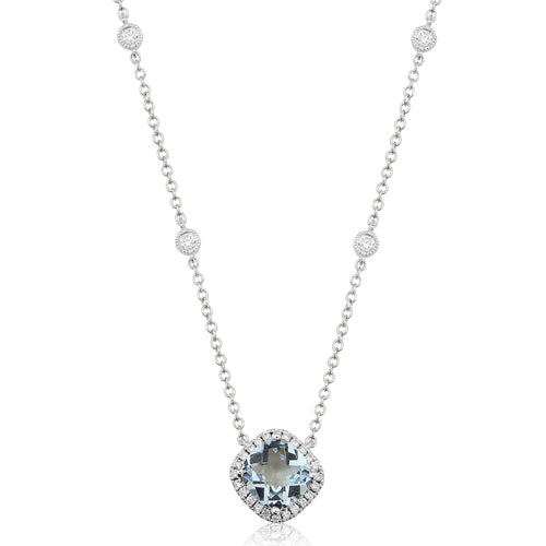 Aquamarine and diamond cluster necklace in 9ct white gold