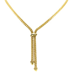 Woven link lariat style necklace in 9ct gold