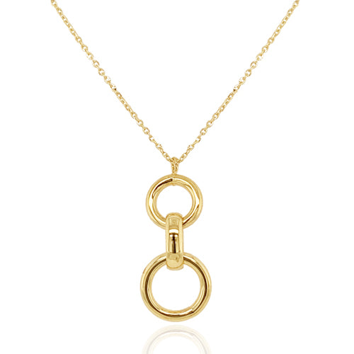 Linked circles pendant and chain in 9ct gold