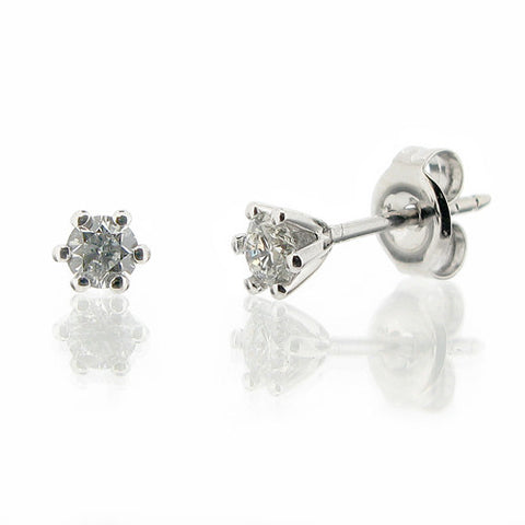 Diamond solitaire stud earrings in 9ct white gold, 0.31ct total