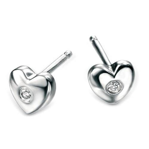 Earrings - Diamond set heart stud earrings in silver  - PA Jewellery