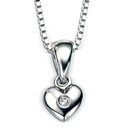 Neckwear - Diamond set heart pendant and chain in silver  - PA Jewellery