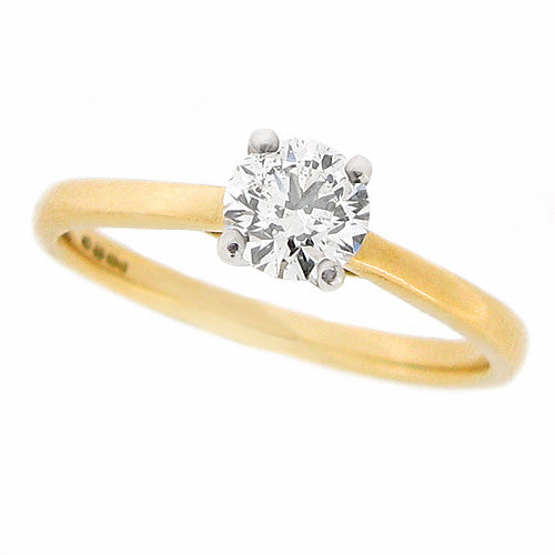 Ring - Brilliant cut diamond solitaire ring in 18ct yellow gold, 0.48ct  - PA Jewellery