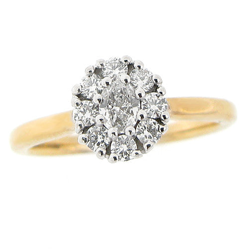 Ring - Oval diamond cluster ring in 9ct yellow gold, 0.43ct  - PA Jewellery