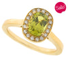 Chrysoberyl and diamond halo cluster ring in 18ct yellow gold