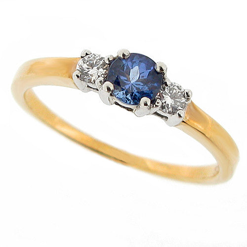 Ring - Tanzanite and diamond three stone ring in 9ct yellow gold  - PA Jewellery