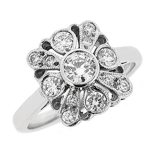 Ring - Vintage style diamond dress ring in 18ct white gold, 0.58ct  - PA Jewellery