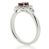 Ring - Ruby and diamond cluster ring in platinum  - PA Jewellery
