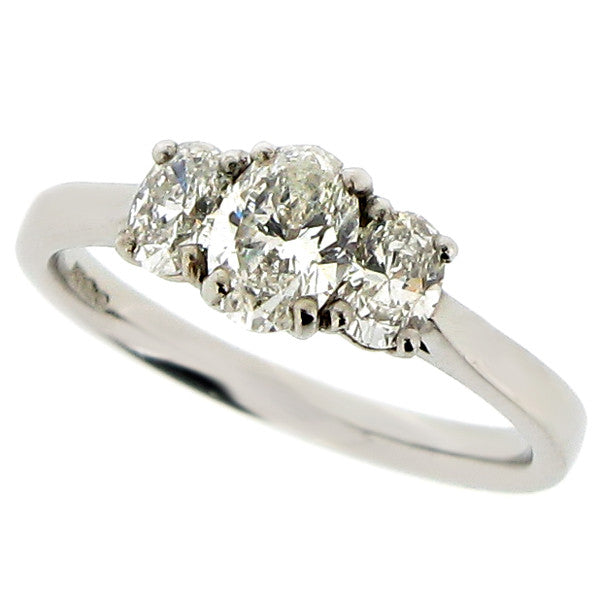 Ring - Oval diamond three stone ring in platinum, 0.92ct  - PA Jewellery