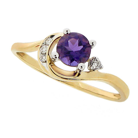 Ring - Amethyst and diamond dress ring in 9ct yellow gold  - PA Jewellery