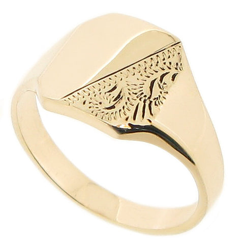 Partially engraved octagonal mens signet ring in 9ct yellow gold