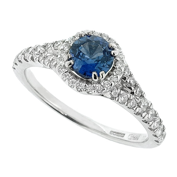 Sapphire and diamond halo cluster ring in 18ct white gold