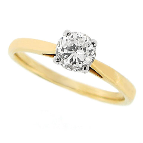 Ring - Brilliant cut diamond solitaire ring in 9ct yellow gold, 0.59ct  - PA Jewellery