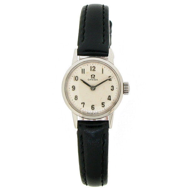 Watch - Ladies' Omega in stainless steel on leather  - PA Jewellery