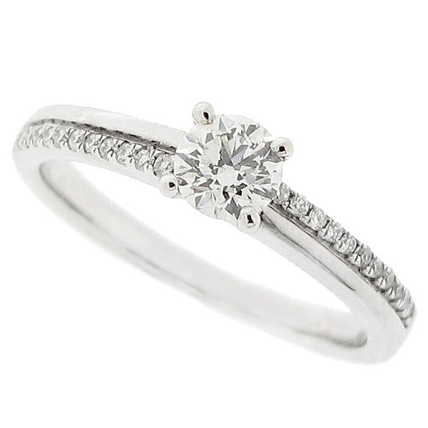 Diamond ring with diamond set shoulders in 18ct white gold, 0.42ct