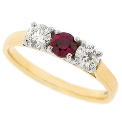 Ruby and diamond three stone ring in 18ct gold and platinum