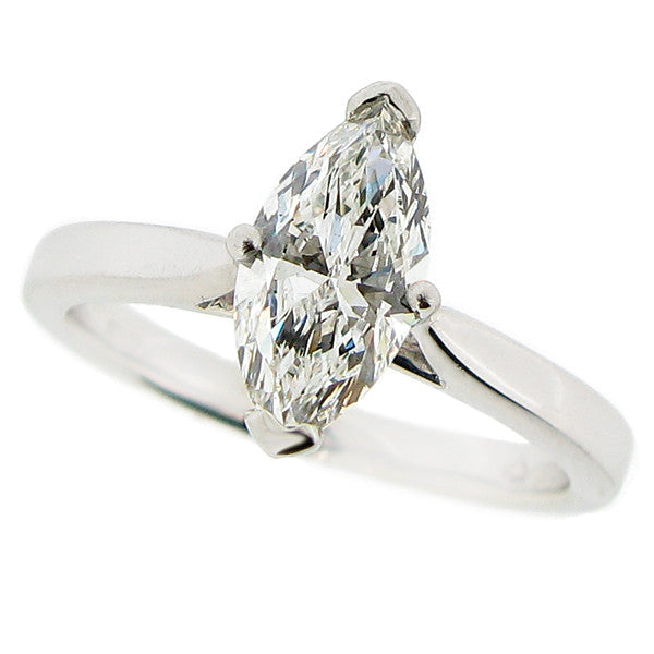 Rings - Marquise shaped diamond solitaire ring 0.96ct. Platinum  - PA Jewellery