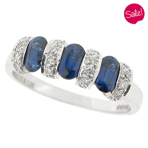 Sapphire and diamond ring in 18ct white gold