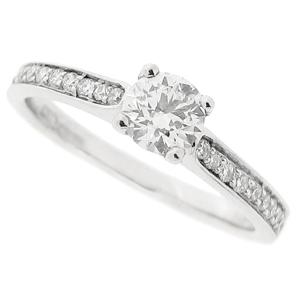 Diamond solitaire ring with diamond set shoulders in 18ct white gold, 0.61ct