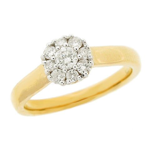 Ring - Diamond cluster ring in 9ct yellow gold, 0.35ct  - PA Jewellery