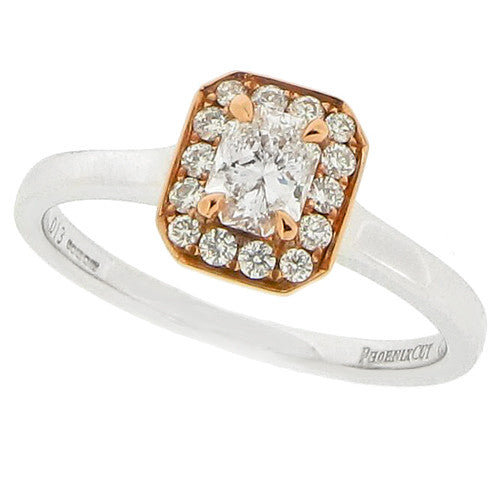 Rings - Phoenix cut diamond halo cluster ring in 18ct white and rose gold, 0.43ct  - PA Jewellery