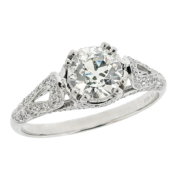 Diamond solitaire ring with pavé set detail in platinum, 1.09ct