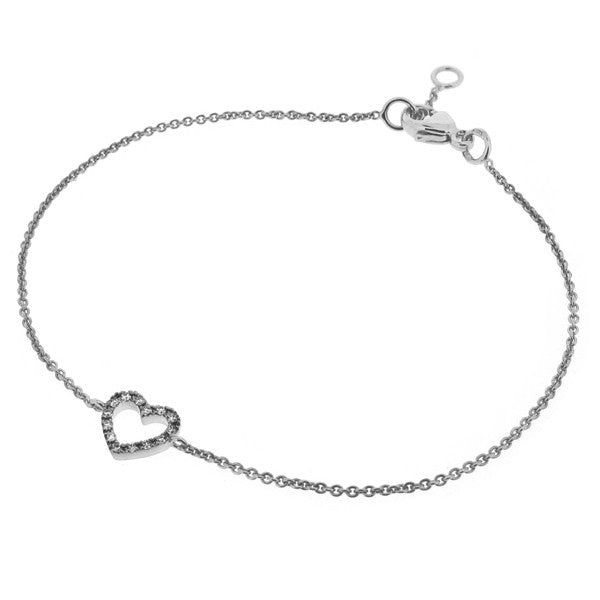 Wristwear - Diamond set heart bracelet in 9ct white gold  - PA Jewellery