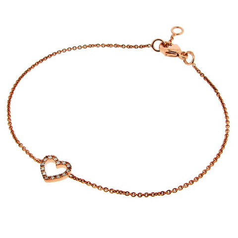 Wristwear - Diamond set heart bracelet in 9ct rose gold  - PA Jewellery