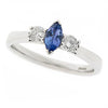 Ring - Tanzanite and diamond three stone ring in 9ct white gold  - PA Jewellery