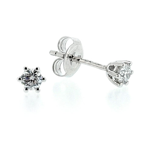 Brilliant cut diamond solitaire earrings in 9ct white gold, 0.20ct