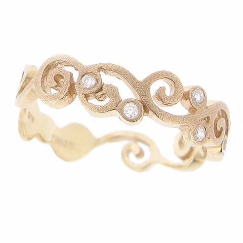 Ring - Diamond set swirl ring in 9ct yellow gold  - PA Jewellery