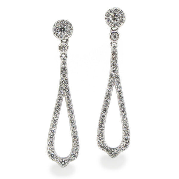 Earrings - Diamond drop earrings in 18ct white gold, 0.44ct  - PA Jewellery