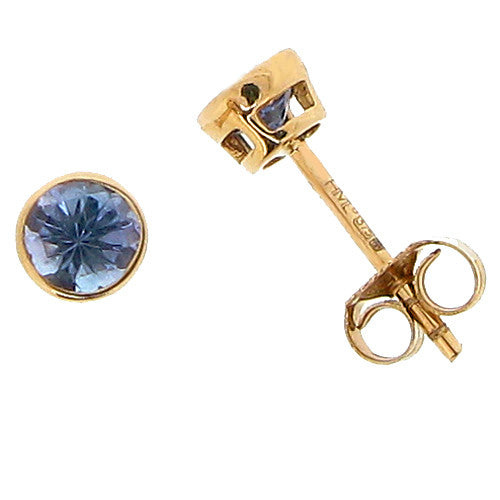 Earrings - Tanzanite round stud earrings in 9ct yellow gold  - PA Jewellery