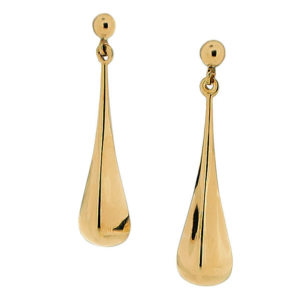 Earrings - Square tapered drop earrings in 9ct yellow gold  - PA Jewellery