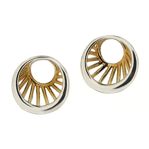 Earrings - Round stud earrings in 9ct yellow and white gold  - PA Jewellery