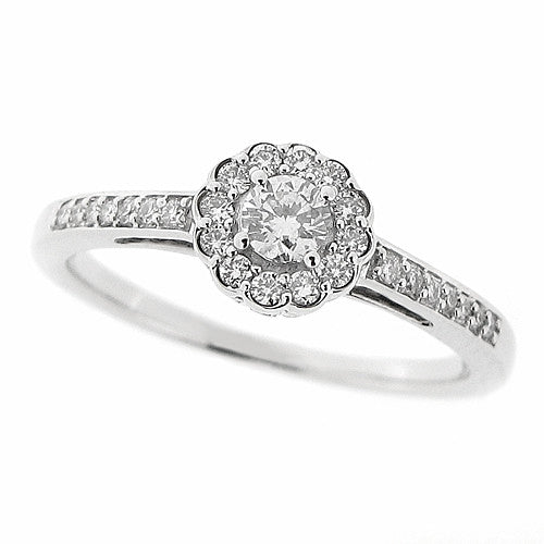 Ring - Diamond cluster ring in 9ct white gold, 0.25ct  - PA Jewellery