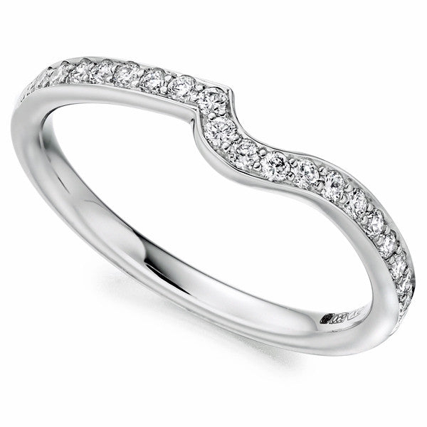 Ring - Diamond set shaped band in platinum, 0.40ct  - PA Jewellery