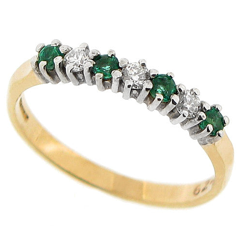 Emerald and diamond half eternity band in 9ct gold
