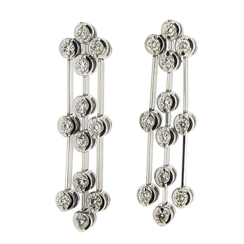 Earrings - Diamond triple drop earrings in 18ct white gold, 0.60ct  - PA Jewellery