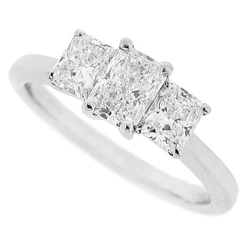 Radiant cut diamond three stone ring in platinum, 1.11ct