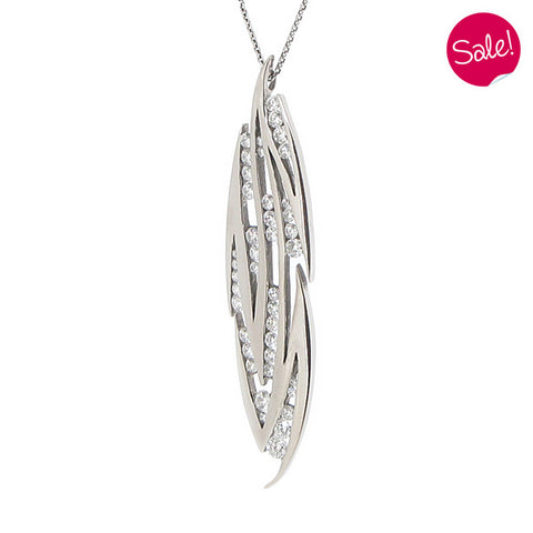 Diamond set wave pendant in 18ct white gold, 1.07ct