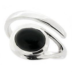 Ring - Onyx crossover ring in silver  - PA Jewellery