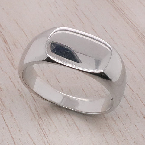 Cushion shape plain signet ring in 9ct white gold