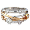 Ring - Diamond set multi row dress ring in 18ct white and rose gold, 0.42ct  - PA Jewellery