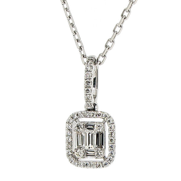 Neckwear - Baguette and brilliant cut diamond pendant and chain in 18ct white gold, 0.42ct  - PA Jewellery