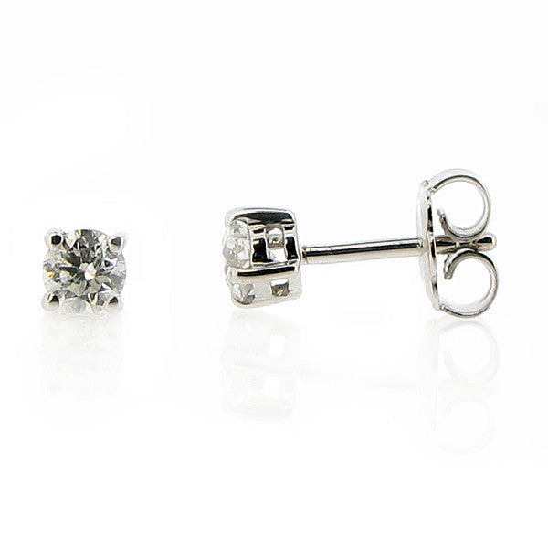 Earrings - Brilliant cut diamond solitaire stud earrings in 18ct white gold, 0.50ct  - PA Jewellery