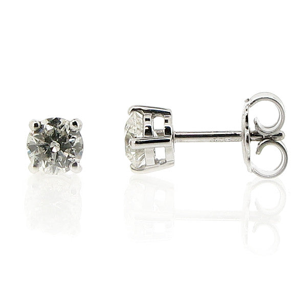Earrings - Brilliant cut diamond solitaire stud earrings in 18ct white gold, 0.93ct  - PA Jewellery