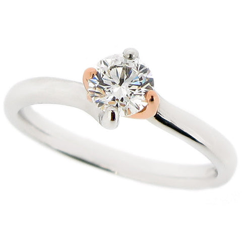 Ring - Brilliant cut diamond solitaire ring in platinum and 18ct rose gold, 0.50ct  - PA Jewellery