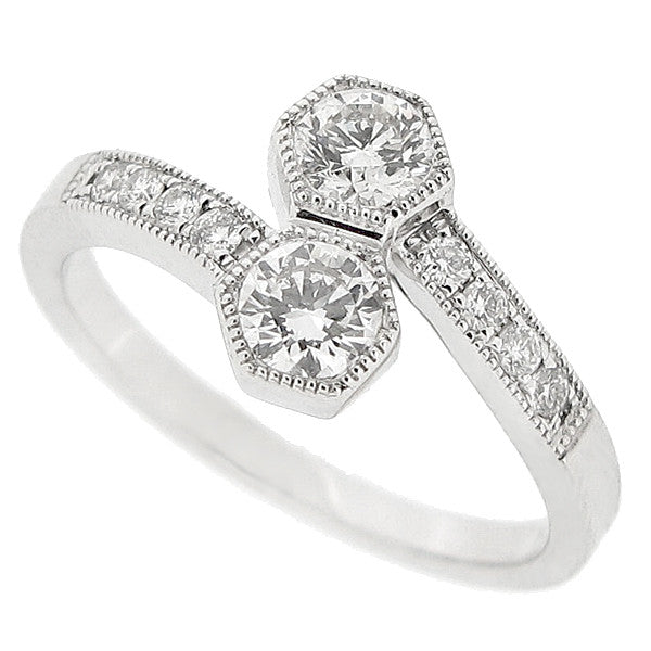 Two stone diamond twist ring in 18ct white gold, 0.60ct